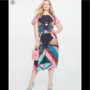 Eloquii print flutter sleeve dress